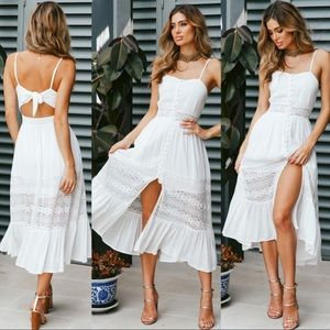 HIGHLY DISCOUNTED! WHITE SUMMER LACE MIDI DRESS